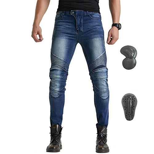 Pantalones De Moto De Invierno Para Hombre, Pantalones Gruesos Y Cálidos De Motocross, Con Versión Mejorada De Almohadilla Protectora Extraíble, Pantalones De Moto Anticaídas (Azul,XXL)