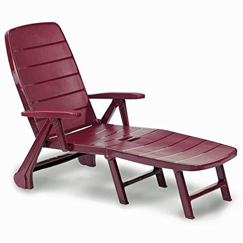 ALL-JingHong Sonnenliege verstellbar Outdoor Wellnessliege Ergonomisch geformt erhältlich Rot JH-271