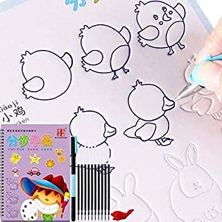 Copybook - Reusable Children's Copybook For Calligraphy Basic Drawing Board Magic Copy Book Practice Book for Kids Writing...