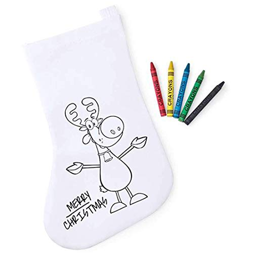 Lote de 30 Calcetines Infantiles Navidad para Colorear con 5 Ceras Incluidas - Bolsas para Pintar y Colorear Infantiles Navideñas Papa Noel - Regalos Originales Navidad Niños