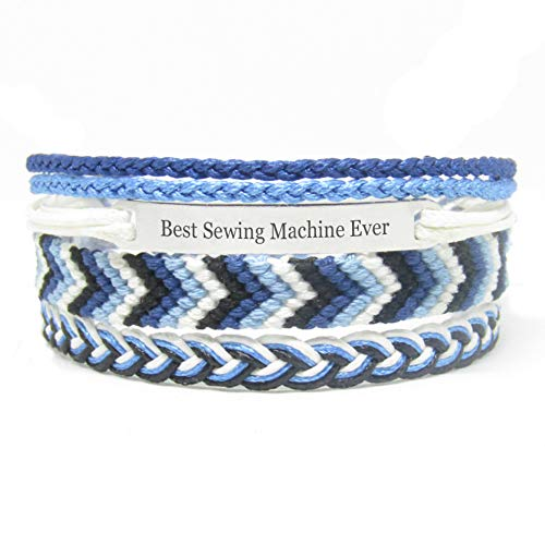 Miiras Job Handmade Bracelet for Women - Best Sewing Machine Ever - Blue 1 - Made of Embroidery Thread and Stainless Steel - Gift for Sewing Machine