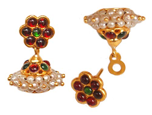 Pahal Traditional White Pearl Red Green Small Gold Jhumka Earrings South Indian Bollywood Kemp Temple Wedding Jewelry for Women