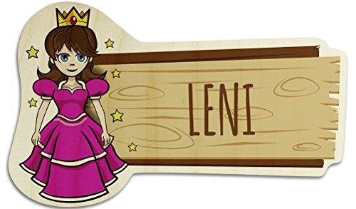 printplanet Türschild aus Holz mit Namen Leni - Motiv Prinzessin - Namensschild, Holzschild, Kinderzimmer-Schild
