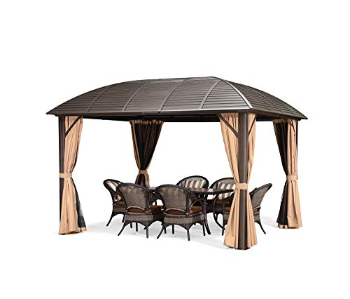 PURPLE LEAF 10' X 12' Outdoor Hardtop Permanent Gazebo Patio Galvanized Steel Canopy Aluminum Frame Garden Gazebo with Curtains and Netting