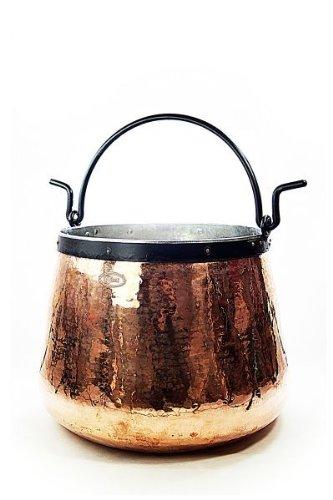 CopperGarden Kupferkessel 20 L mit Henkel I Robuster Kessel aus verzinntem Kupfer: Ideale Wärmeleitung & -verteilung I Lebensmittelechter Feuerkessel für Gulasch/Feuerzangenbowle uvm.