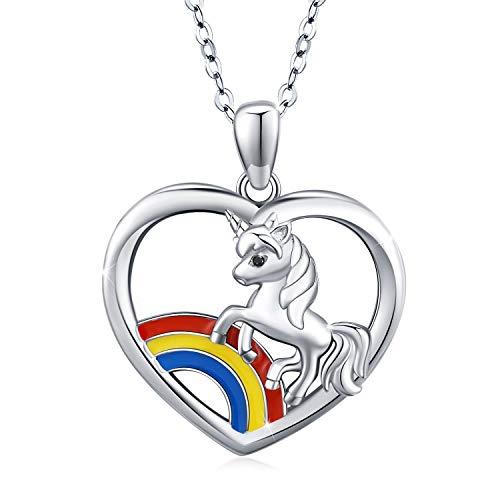 CUOKA MIRACLE Collar de Unicornio de Plata de Ley 925 con Colgante de Unicornio y corazón, Regalo de Unicornio para Mujeres y niñas, Regalo de cumpleaños o Navidad para Hija