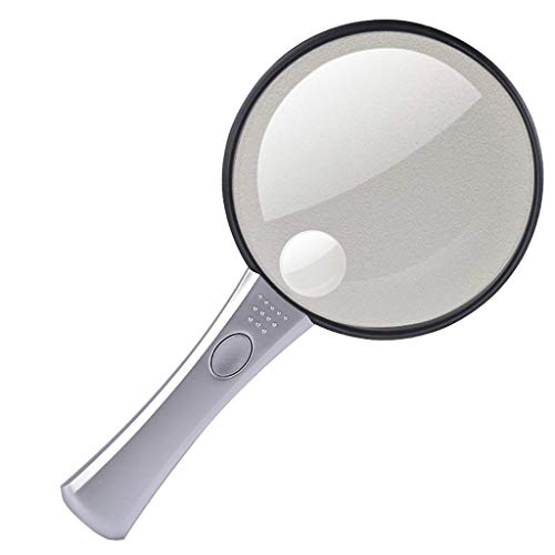 FDJ Optical Led Lamp 10 Times Handheld Reading 20 Times Magnifying Glass 110Mm Expansion Mirror