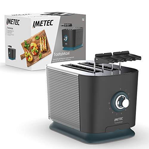 Imetec TostaMaxi, Tostadora con 2 ranuras extragrandes y pinzas modulables para tostadas extra-rellenas, 10 niveles de tostado, temporizador con auto-apagado, bandeja de migas, 600 W