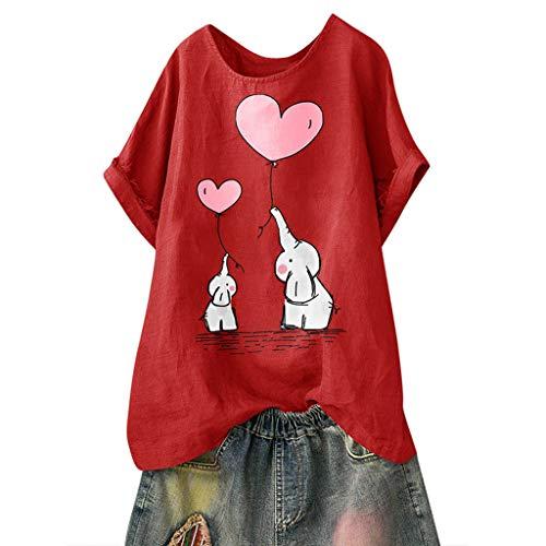 TUDUZ Blusas Mujer Manga Corta Verano Camisas Camiseta de Algodón y Lino con Estampado de Dibujos Animados (Rojo.e, XXXXL)