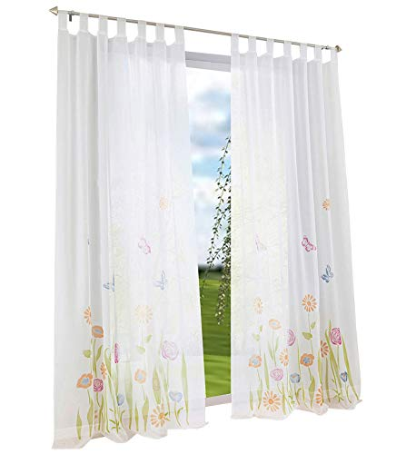 BAILEY JO 1er-Pack Gardine Schlaufen Floral Gardinen Mit Blumen Schmetterling Transparent Voile Vorhang (BxH 150x225cm, grün)