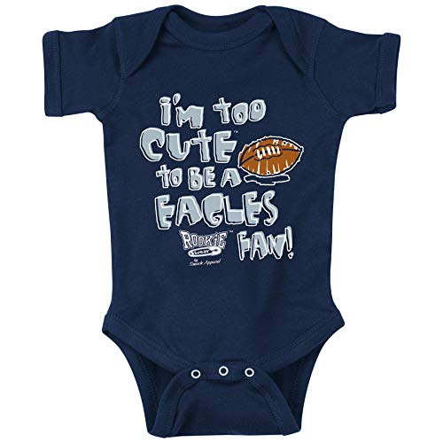 Rookie Wear by Smack Apparel Dallas Football Fans. I'm Too Cute to Be a Eagles Fan. Navy Onesie (Onesie, 6 Month)
