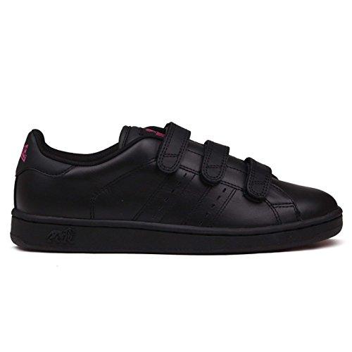 Lonsdale Damen Leyton Turnschuhe Freizeit Sneaker Sport Schuhe Klettverschluss Schwarz/Kirschrot 7.5 (41.5)