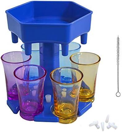 Dispensador de vasos de chupito de 6 formas, dispensador de chupito de barra, dispensador de licor para llenar líquidos, juegos de beber, fiesta de cóctel, con vasos coloridos (azul)