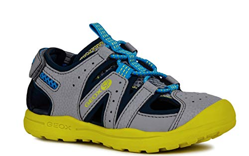 Geox VANIETT Boy J925XA Jungen Trekking Sandalen,Kinder Outdoor-Sandale,Sport-Sandale,geschlossener Zehenbereich,Grey/Lime,26