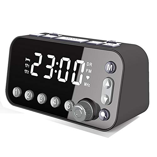 Pineocus Bedside alarm clock radio, Bedside Digital Alarm Clock dual USB ports to charge the phone 3-level Brightness Adjustable, Optional Alarm Sounds,Dual Alarm Clock Setting (Not Include Battery)