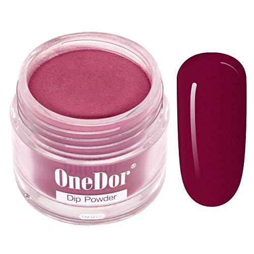 OneDor Nail Dip Dipping Powder – Acrylic Color Pigment Powders Pro Collection System, 1 Oz. (02 - Burgundy)