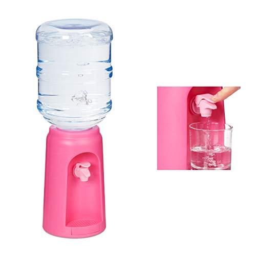 Relaxdays Dispensador de Agua con Tanque y Grifo, Accesorio de Oficina, 4,5L, Plástico, 47,5 x 17 cm, 1 Ud, Rosa