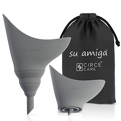 CIRCE CARE 1st Generation SuAmiga Collapsible Female Urination Device (Uniform Soft); Women Pee Funnel with Drawstring Bag;Portable Reusable Female Urinal for Women to Pee Standing Up (Size- Petite)
