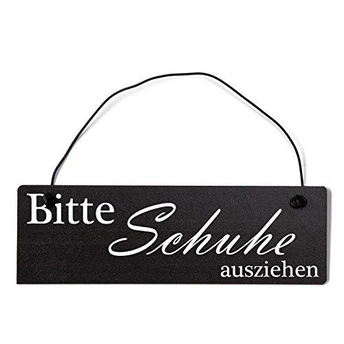 Deko Shabby Chic Schild Bitte Schuhe ausziehen in schwarz Vintage Holz Türschild mit Draht
