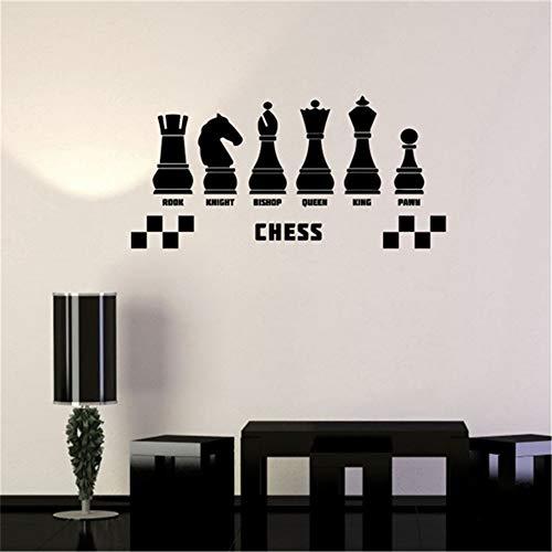 yiyiyaya Calcomanía de Vinilo Club de ajedrez Intelectual Juego Pegatinas de Pared habitación de niños Decoración para el hogar 58 x 28 cm