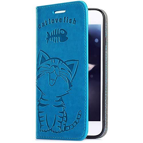 Uposao Upoao Kompatibel mit iPhone XS/iPhone X Handy Schutzhülle, Hülle Leder Wallet Tasche Leder Handyhülle Niedlich Katze Fisch Muster Handytasche Flip Case Lederhülle Ständer Kartenfächer,Blau
