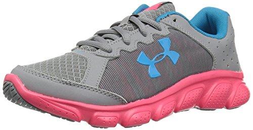 Under Armour Girls' Pre School Assert 6 Sneaker, Steel (101)/Penta Pink, 2.5