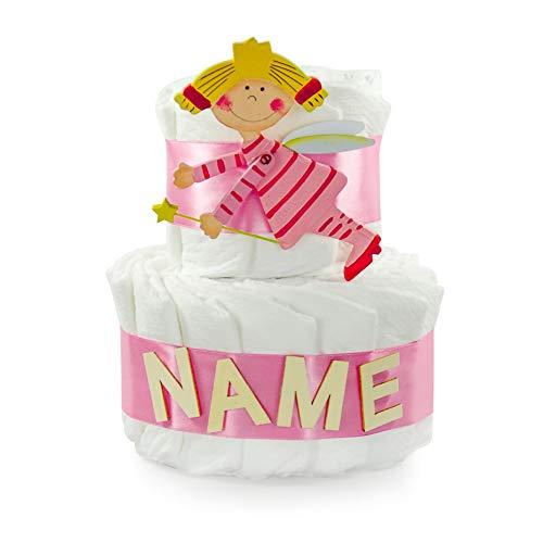 dubistda© Windeltorte Schutzengel für Mädchen personalisiert mit Namen / 25cm - Geschenk zur Geburt für Mädchen mit Grußkarte (rosa)
