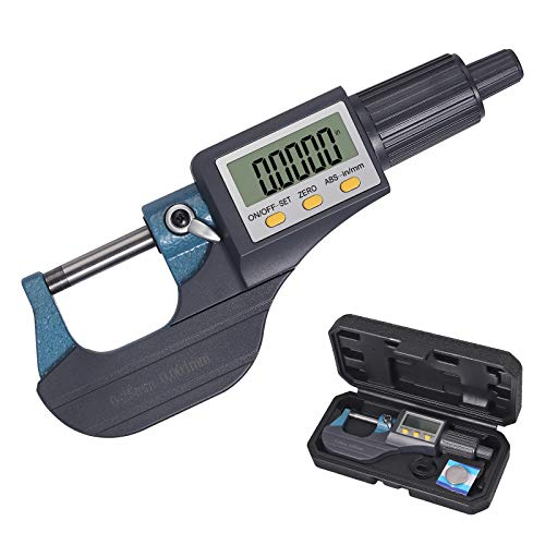 Neoteck 0-1' Digital Micrometer, Resolution 0.00005'/0.001mm, Inch/Millimeter LCD Digital Professional Thickness Measuring Tools, Protective Case (with Extra Battery)