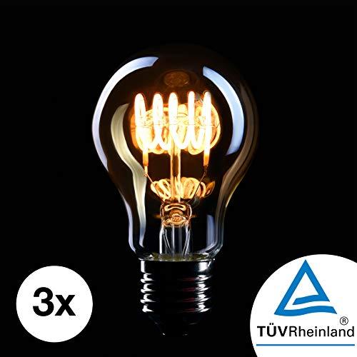 CROWN LED 3 x Edison Glühbirne E27 Fassung, Dimmbar, 4W, Warmweiß, 230V, EL03, Antike Filament Beleuchtung im Retro Vintage Look