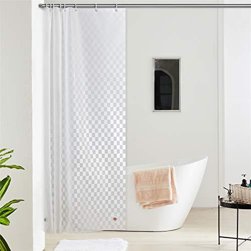 Furlinic Duschvorhang Anti-schimmel Wasserdicht Transparent Badvorhang aus Eva 120x180cm 3D Effekt Rechteck mit 8 Duschvorhangringen Saum mit Steinen.
