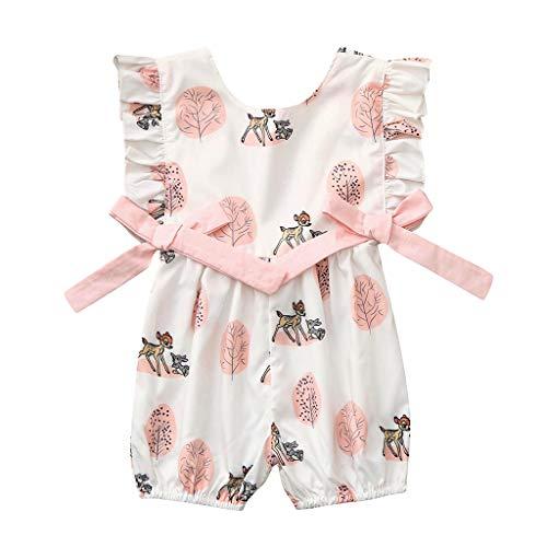 Julhold pasgeboren baby meisje jongen O-hals mouwloos boog cartoon hert Romper Jumpsuit kleding outfits zomer 2019