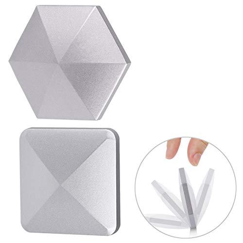 MIKIMIQI Fingertip Flipo Flip, 2 Pack Fingertip Gyro Desktop Flip Metal Decompressor Pocket Kinetic Energy Toys Relieves Fatigue Stress 2020 Metal Fingertip Spinning Toy, Silver