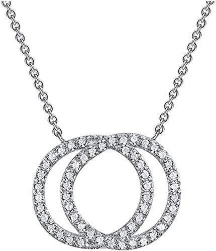 DUEJJH Co.,ltd S925Silver Elegante Zirconia cúbica Doble círculo de la Suerte Anillos entrelazados Collar Colgante Charm