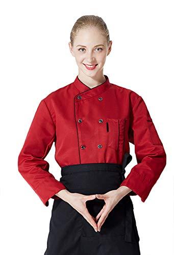 Kookjack met korte mouwen, heren en dames, meerdere kleuren, rood/wit, zwart, katoen, lange mouwen, eenkleurig, verbleekt niet. XXXL rood