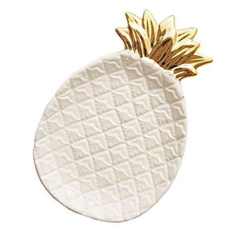 Lemong Dekorativer Keramikteller mit Goldüberzug, ein gutes Geschenk für Mutter oder Freundin,...