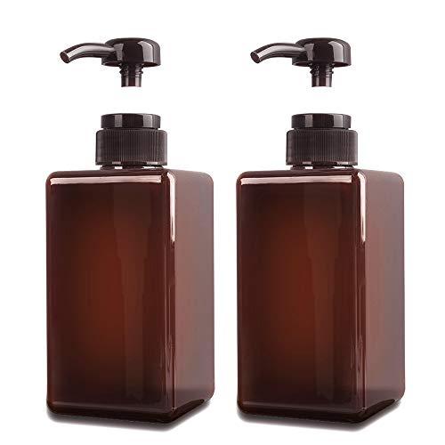 JiatuA 450 ml Seifenspender, 2er-Set Pumpspender aus Kunststoff Leerflasche Soap Dispenser Lotionspender optimal für Küche Bad Flüssigseifen - Braun