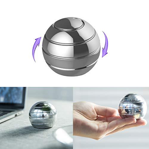 WedFeir Kinetic Desk Toy Balls, Full Body Optical Illusion Metal Stress Ball, Fidget Spinner Ball Desktop Gyro, Gifts for Adults Kids. ( Sliver )