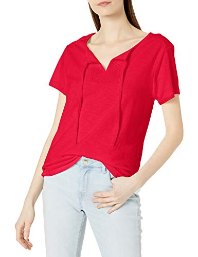 Hanes Women's Short Sleeve Henley Tee with Crochet Trim, red Spark, X Large