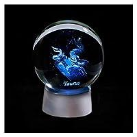 3Dゾディアッククリスタルボール12星座ガラスグローブホームデコレーション球カラフルなLEDライト占い飾り星座 (色 : Taurus, サイズ : 8cm ball)