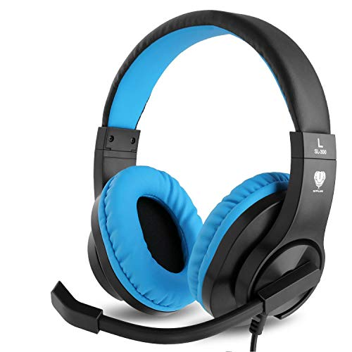 Meedasy Kids Adults Over-Ear Gaming Headphone for Xbox One, Nintendo Switch, Bass Surrounding Stereo, PS4 Gaming Headset with Microphone and Volume Control for Laptop, PC, Wired Noise Isolation (BLUE)