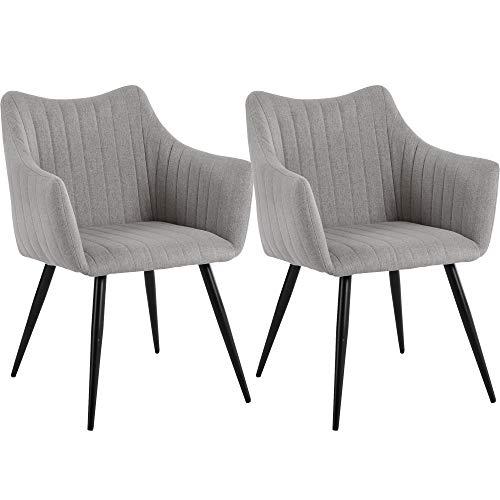 DORAFAIR 2er Set Vintager Retro Stuhl Sessel Polstersessel Leinen, Esszimmerstühle mit Metallbein, Grau