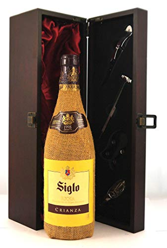 Rioja 1998 Siglo en una caja de regalo forrada de seda con cuatro accesorios de vino, 1 x 750ml