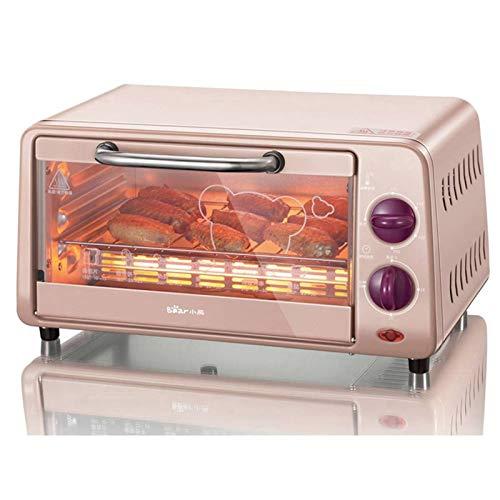 Mini four 10L, petit four électrique 800 W pour le dortoir, bureau, 8 biscuits, pâtes, petit grille-pain avec four, acier inoxydable, rose