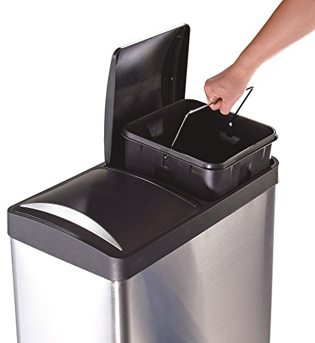 Step N Sort 16-Gallon 2-Compartment Trash and Recycling Bin - Available in Multiple Colors.