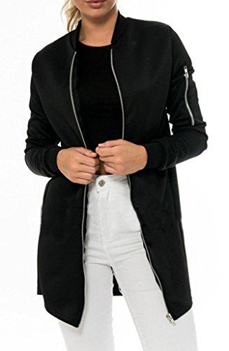 Bigood Blouson Mi-Long Femme Manteau Jacket Veste Manche Longue Soirée Cérémonie Zippé Noir Bust 97cm