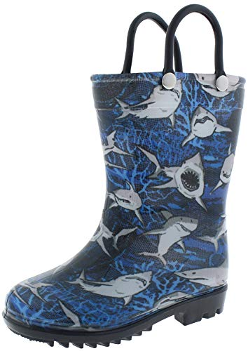 Capelli New York Toddler Boys Underwater Sharks Printed Rain Boots Blue Combo 5