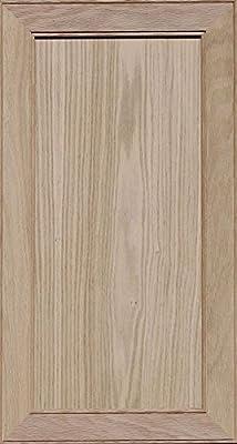 Unfinished Oak Mitered Flat Panel Cabinet Door by Kendor, 28H x 15W