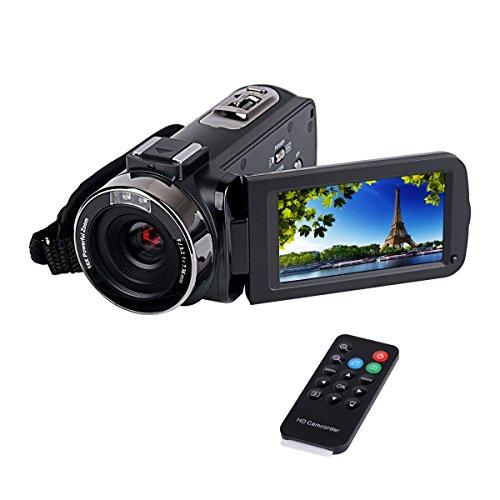 Ckeyin & # 174; Videocámara Full HD, 5Mpx, zoom digital 16X, pantalla LCD de 7,6cm (3,0pulgadas), estabilización de imagen, cable HDMI, Negro