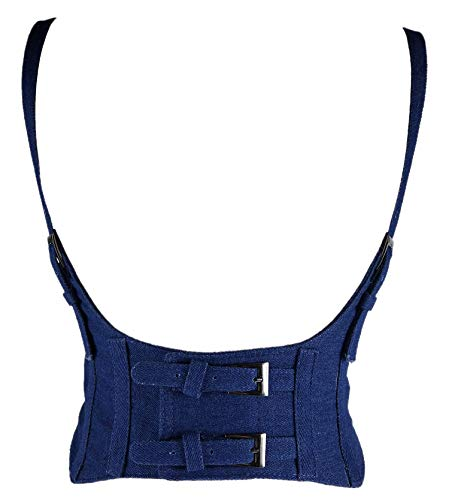 Alivila.Y Fashion Womens Leather Underbust Waist Belt Steampunk Corset Vest AS577-Dark Blue Denim