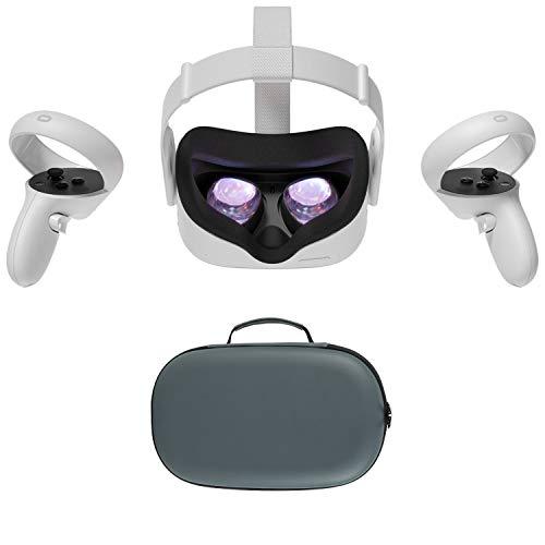2020 Oculus Quest 2 All-In-One VR Headset, Controladores de toque, 256GB SSD, 1832x1920 até 90 Hz Taxa de Actualização LCD, óculos Compitble, Áudio 3D, Mytrix maleta [videogame]